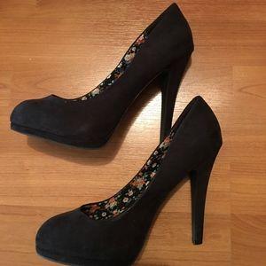 Zara Black Suede Platform Heels w/ Floral Interior
